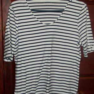 Talbots Navy and white striped tee